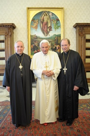Pope Benedict XVI with His Grace, Bishop Gerald N. Dino and Father Stephen Washko